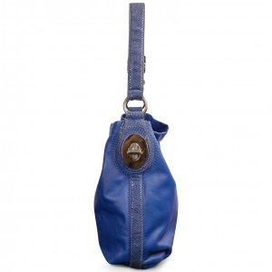 תיק בינוני עור כחול בשילוב עם פס וידית כחול מנוחש - Coach 2