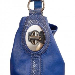 תיק בינוני עור כחול בשילוב עם פס וידית כחול מנוחש - Coach 4