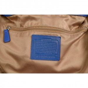 תיק בינוני עור כחול בשילוב עם פס וידית כחול מנוחש - Coach 3