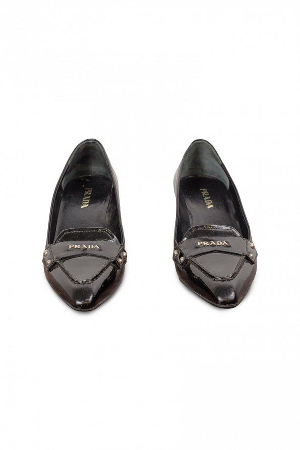 נעלי עקב לק שחורות - Prada 1