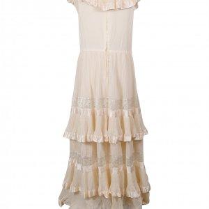 שמלת מקסי שמנת, פליסה ותחרה בשכבות - וינטג׳ 2