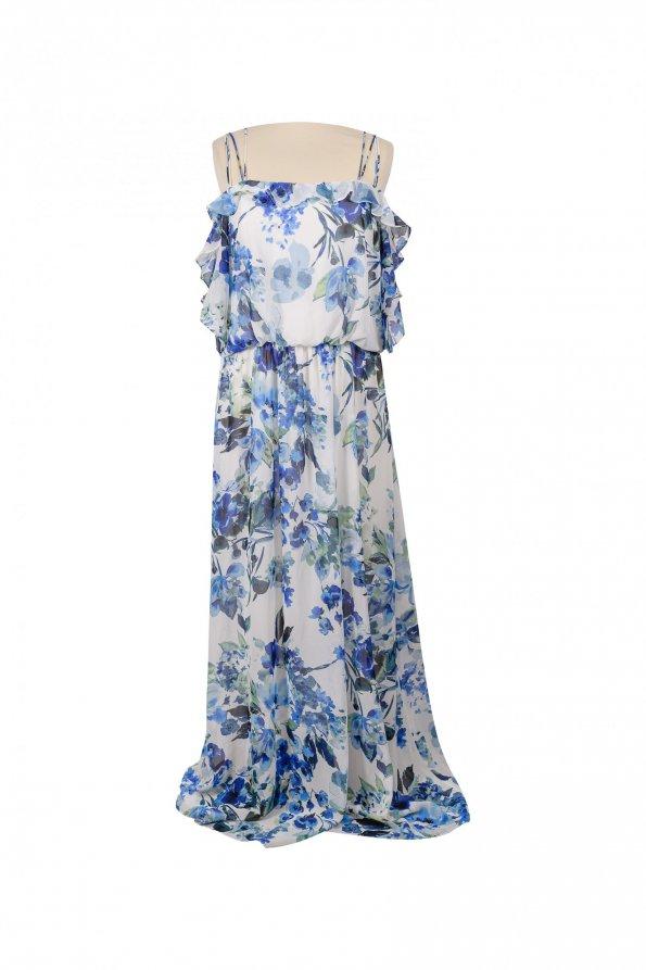 שמלת פרחים תכלת לבן maxi מבית Ralph Lauren 1