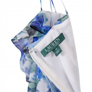 שמלת פרחים תכלת לבן maxi מבית Ralph Lauren 3