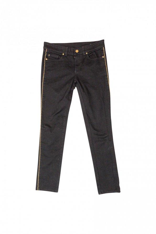 מכנסי ג׳ינס שחורים עם פס זהב בצד - Alexander McQueen 1