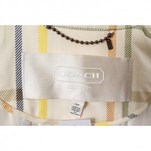 מעיל טרנץ׳ קצר לבן עם משבצות צבעוניות - COACH 3