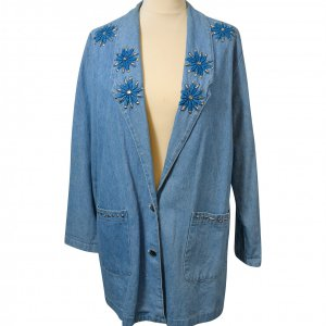בלייזר ג'ינס מחויט עם פרחים רקומים וינטג׳ 2