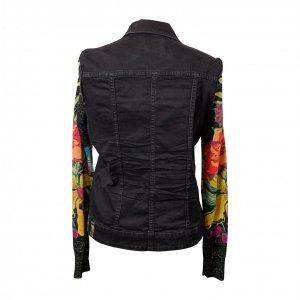 ג׳קט ג׳ינס שחור שרווליים סריג צבעוני - DESIGUAL 4