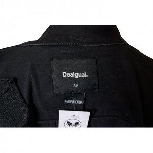ג׳קט ג׳ינס שחור שרווליים סריג צבעוני - DESIGUAL 3