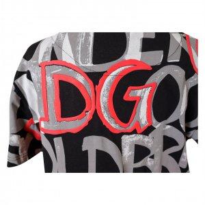 טי שירט שחור כיתוב אפור אדום - Dolce & Gabbana 4