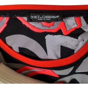 טי שירט שחור כיתוב אפור אדום - Dolce & Gabbana 3