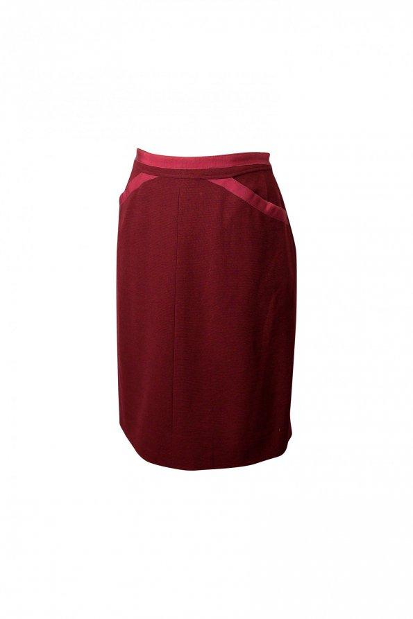 חצאית וינטג' בורדו עם כיסים - Chanel 1