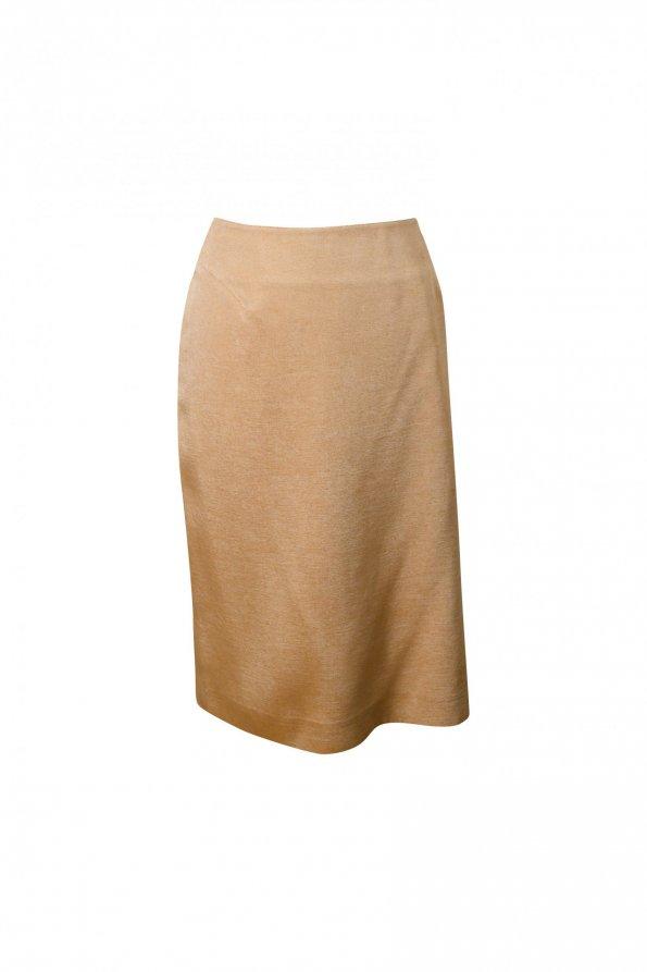 חצאית משי מידי זהב עם שסע - Thierry Mugler 1
