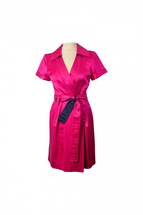 שמלת מעטפת סגול ורוד מבריק - Diane vonFurstenberg 1