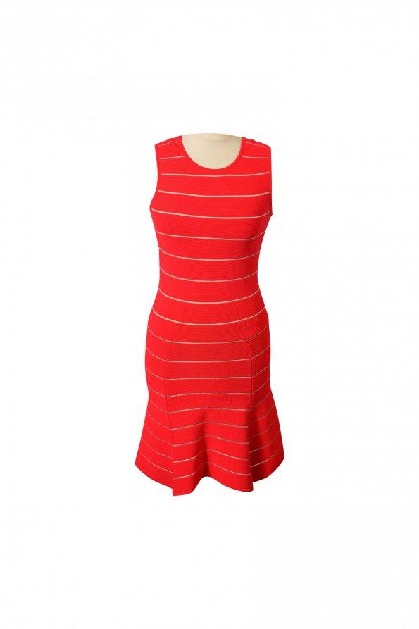 שמלה קצרה אדומה פסים לבנים בד סריג 1
