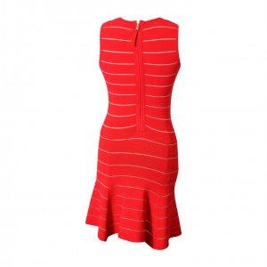 שמלה קצרה אדומה פסים לבנים בד סריג 2