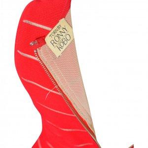 שמלה קצרה אדומה פסים לבנים בד סריג - Rony Kobo 3