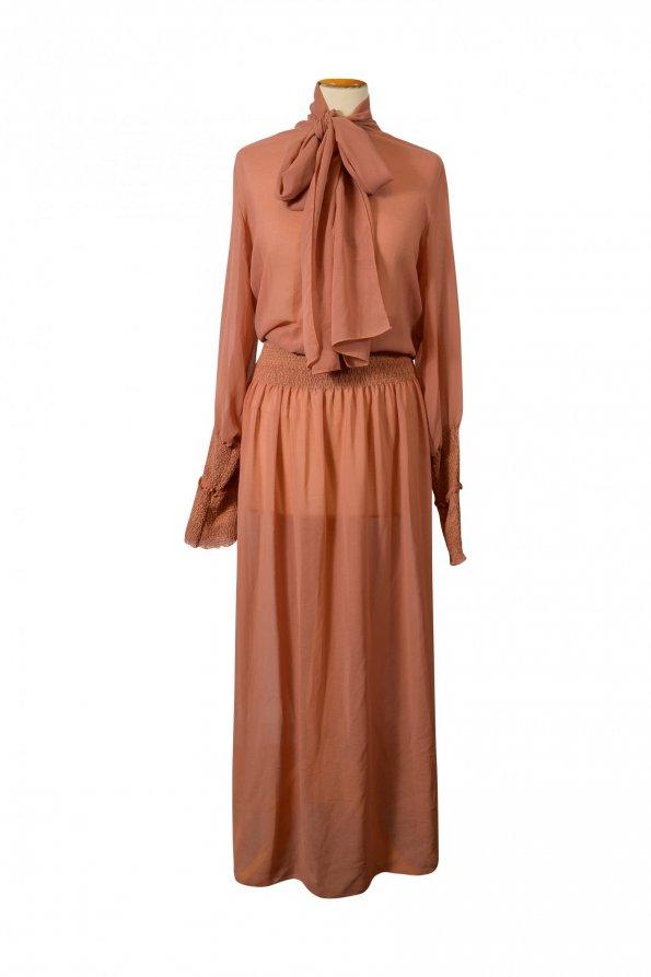 שמלת מקסי ארוכה שיפון חום חמרה שקופה - See by Chloé 1