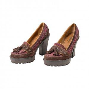 נעלי עקב סגול בורדו - Yves Saint Laurent 2