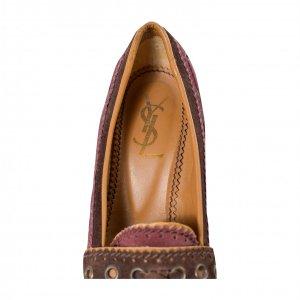נעלי עקב סגול בורדו - Yves Saint Laurent 3
