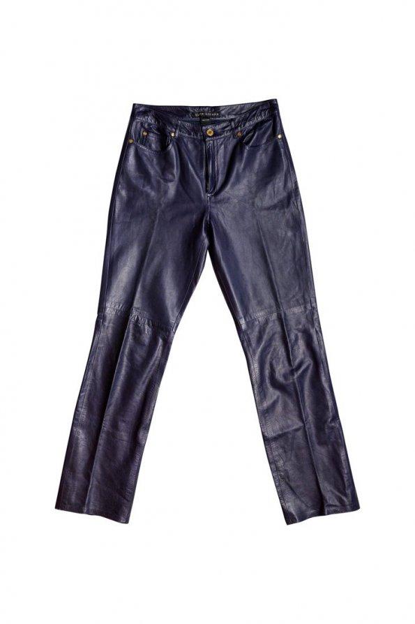 מכנס עור כחול בגזרה ישרה 1
