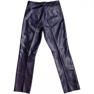 מכנס עור כחול בגזרה ישרה 2
