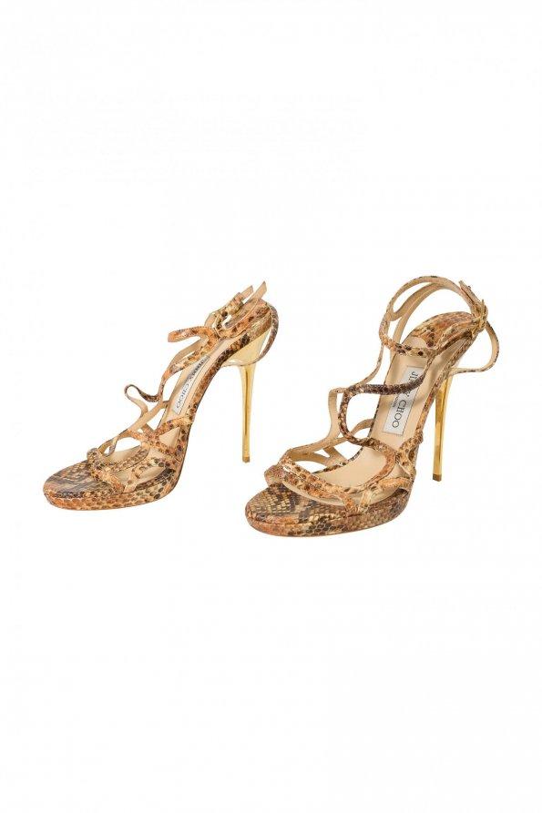 נעלי עקב נחש עקב זהב - JIMMY CHOO 1