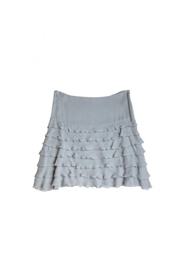 חצאית משי שכבות אפור תכלת - STELLA McARTNEY 1