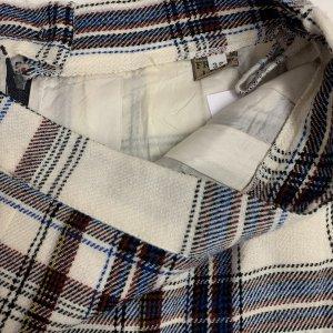 חצאית צמר וינטג׳ משבצות לבן כחול חום 5