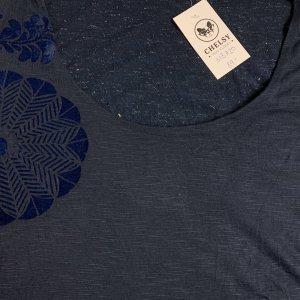 חולצת טריקו שרוול ארוך שתי שכבות כחול כהה עם תבליט עלים - DESIGUAL 4