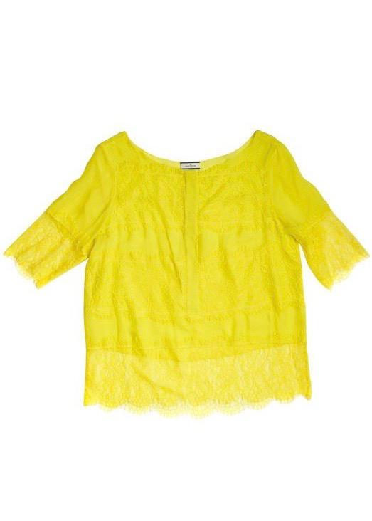 חולצת שיפון ותחרה בצבע צהוב שקוף MALENE BIRGER 1