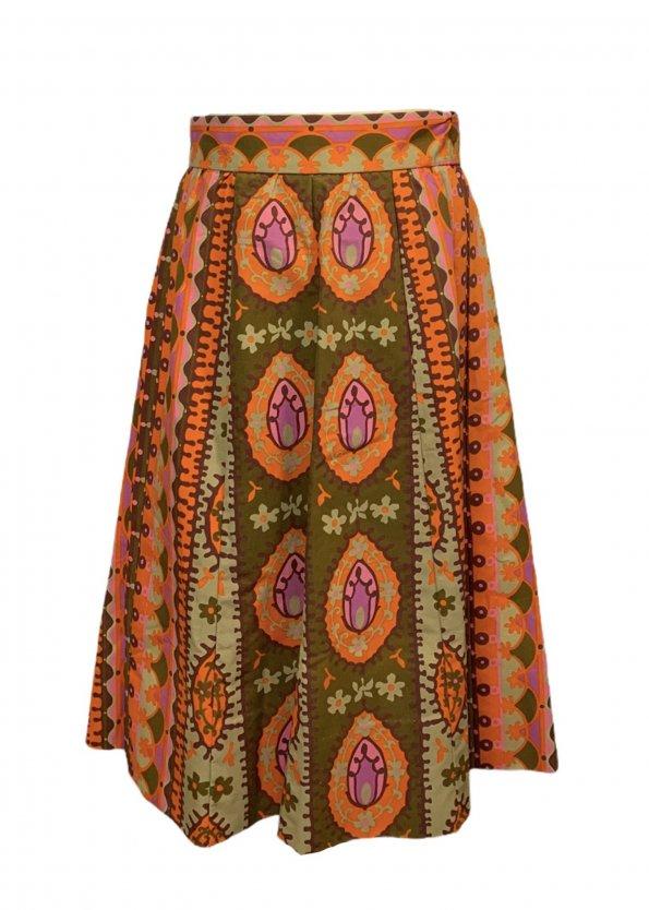 חצאית וינטג׳ אתנית כתום ורוד חום - אתא 1