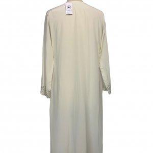 שמלת גלביה ממשי בצבע שמנת עם עיטורים נוצצים 2