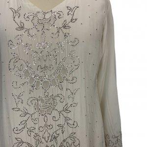 שמלת גלביה ממשי בצבע שמנת עם עיטורים נוצצים 5