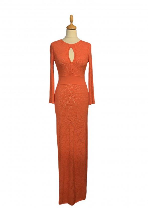 שמלת סריג כתום אדום מקסי - BCBG 1