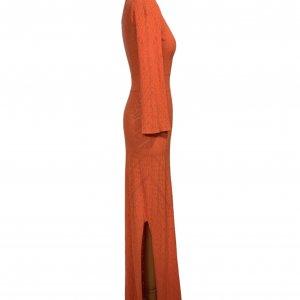 שמלת סריג כתום אדום מקסי - BCBG 3