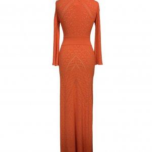 שמלת סריג כתום אדום מקסי - BCBG 2