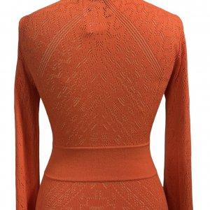 שמלת סריג כתום אדום מקסי - BCBG 5