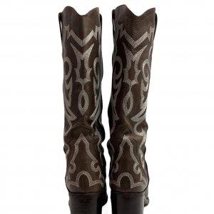 מגפיים בוקרים, עור בצבע חום כהה עם עיטורים - FREE LANCE PARIS 4