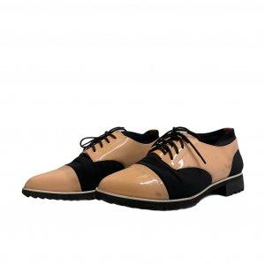 נעלי מוקסין לק אפרסק ובד שחור - UNITED NUDE 2