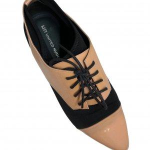 נעלי מוקסין לק אפרסק ובד שחור - UNITED NUDE 3
