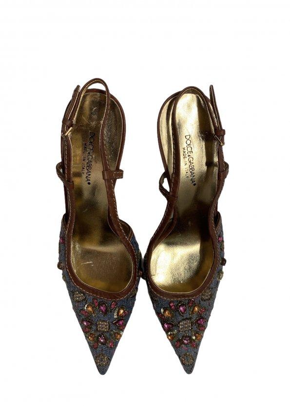 נעלי עקב מבד ג׳ינס עם אבני סברובסקי - Dolce & Gabbana 1