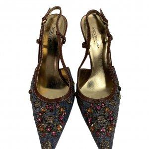 נעלי עקב מבד ג׳ינס עם אבני סברובסקי - Dolce & Gabbana 4