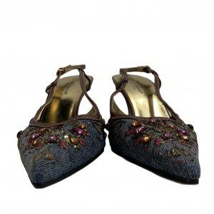 נעלי עקב מבד ג׳ינס עם אבני סברובסקי - Dolce & Gabbana 3