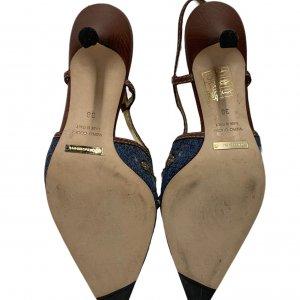 נעלי עקב מבד ג׳ינס עם אבני סברובסקי - Dolce & Gabbana 7