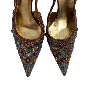 נעלי עקב מבד ג׳ינס עם אבני סברובסקי - Dolce & Gabbana 5
