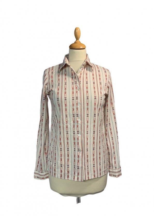 חולצת וינטג' מכופתרת שרוול ארוך צבע שמנת עם צורות גיאומטריות צבעוניות לאורך 1