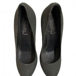 נעלי עקב עור נחש ירוק זית אפור - Yves Saint Laurent 3