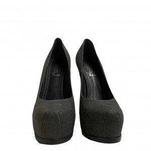נעלי עקב עור נחש ירוק זית אפור - Yves Saint Laurent 2
