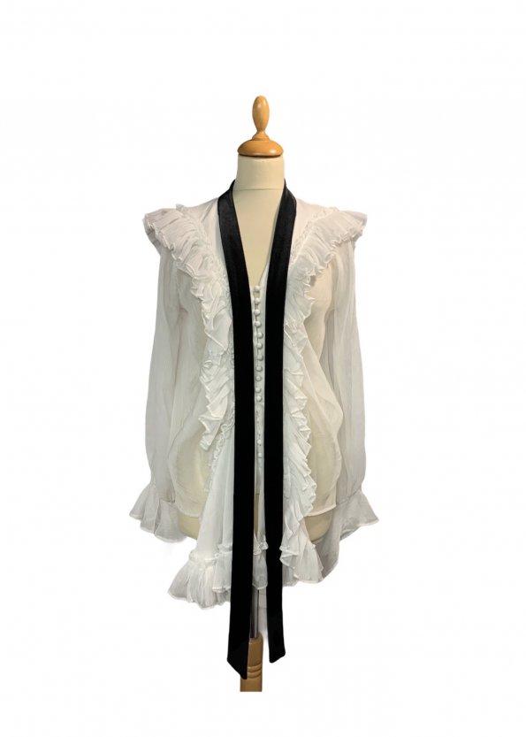 חולצה מכופתרת לבנה עם קשירה שחורה בצאוורון - Chloé 1