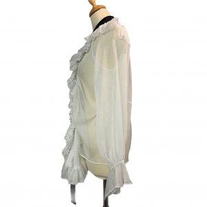 חולצה מכופתרת לבנה עם קשירה שחורה בצאוורון - Chloé 5